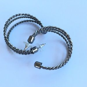 Gunmetal Triple Twist Hoop Earrings
